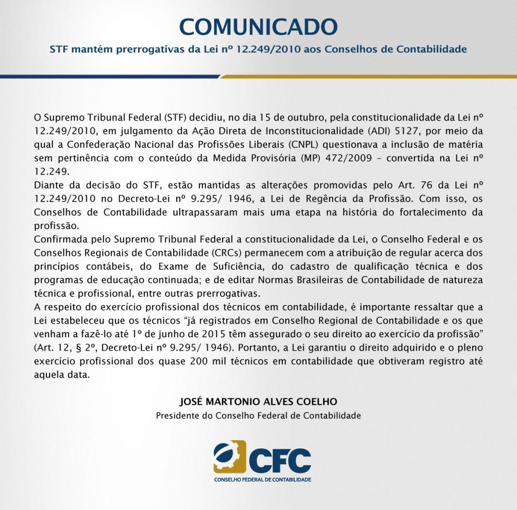 STF mantém prerrogativas da Lei nº 12.249/2010 aos Conselhos de Contabilidade