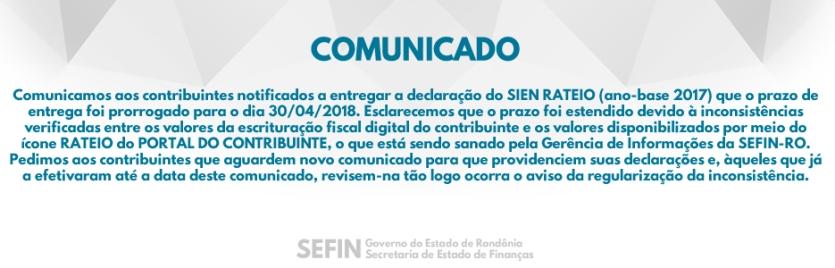 Rondônia – Aviso de prorrogação SIEN RATEIO (ano-base 2017)