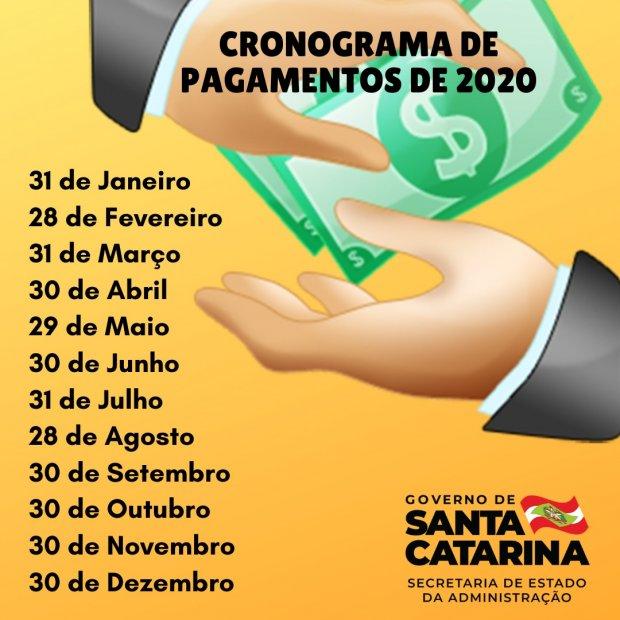 Governo de Santa Catarina divulga calendário anual de pagamentos