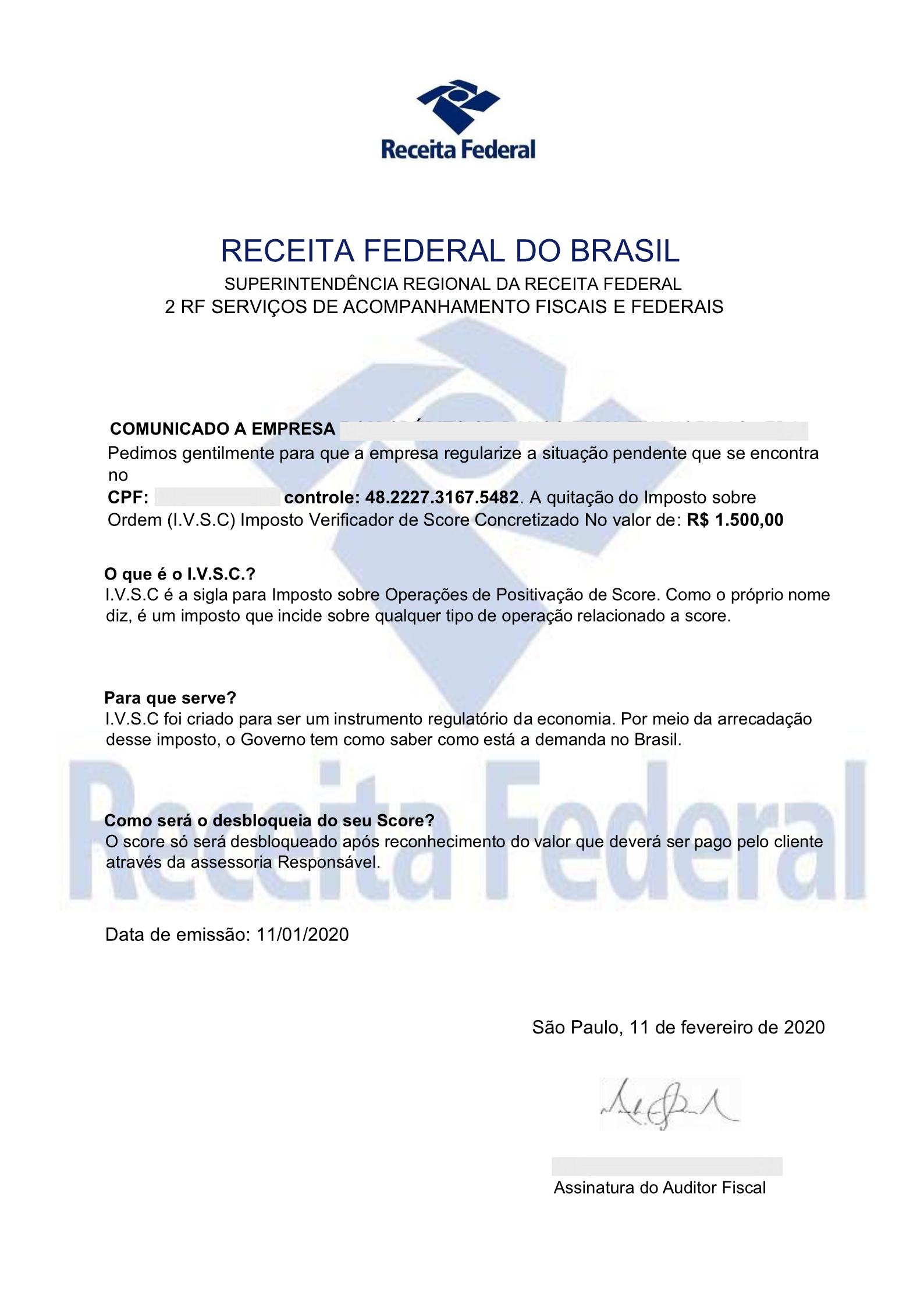Receita Federal alerta para falsa correspondência que oferece regularização mediante pagamento de suposto tributo