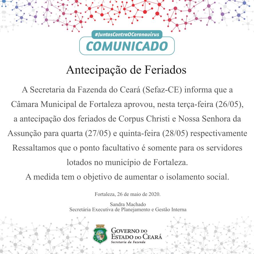 Antecipação de Feriados – Ceará