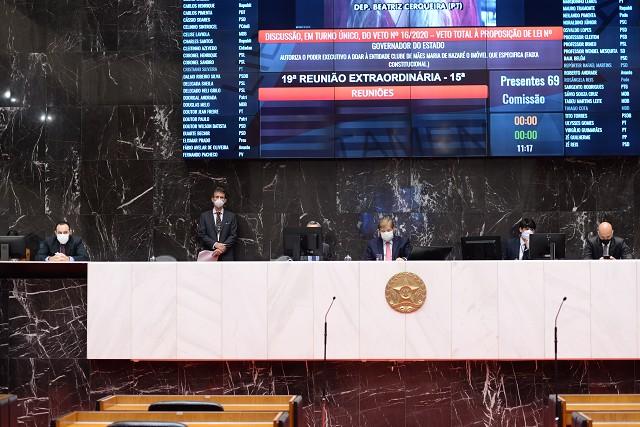 Plenário mantém três vetos do governador – Assembleia de Minas