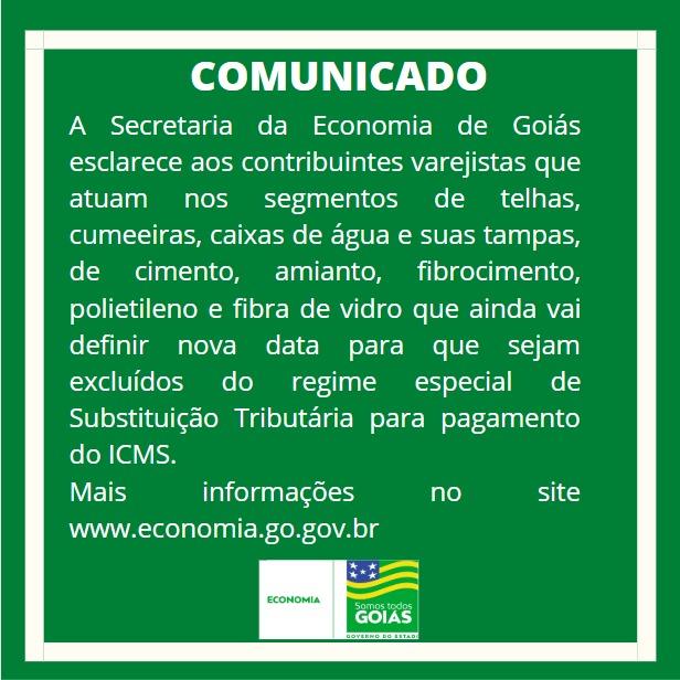 Exclusão da telha da substituição tributária sem data – Goiás