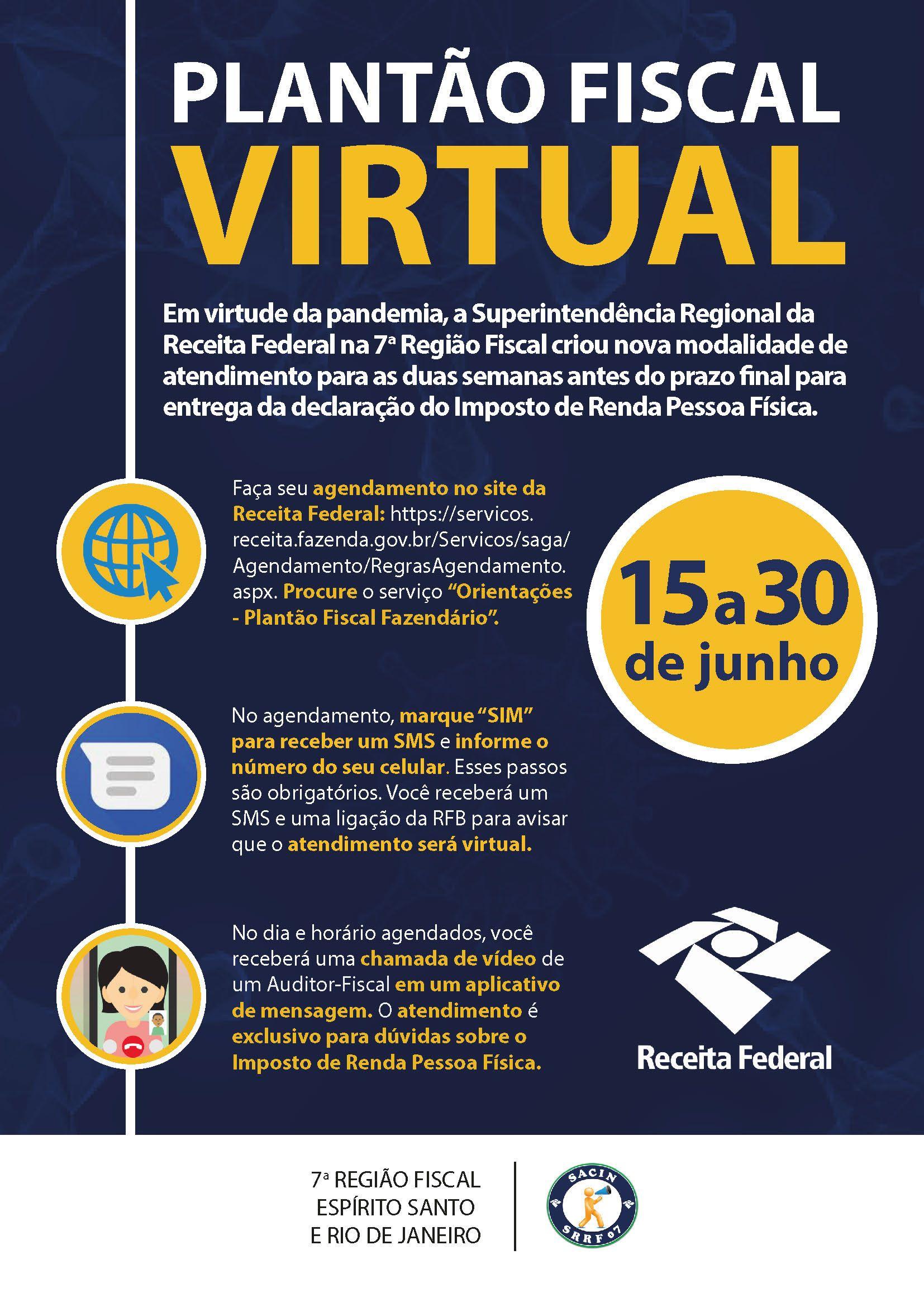Receita Federal cria Plantão Fiscal Virtual para tirar dúvidas sobre o IRPF 2020