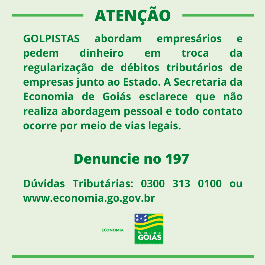 Economia alerta contribuintes para ter cuidado com golpe – Goiás