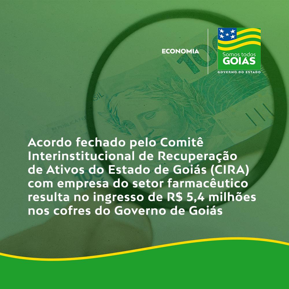Acordo fechado pelo CIRA com empresa do setor farmacêutico resulta no ingresso de R$ 5,4 milhões nos cofres do Governo de Goiás