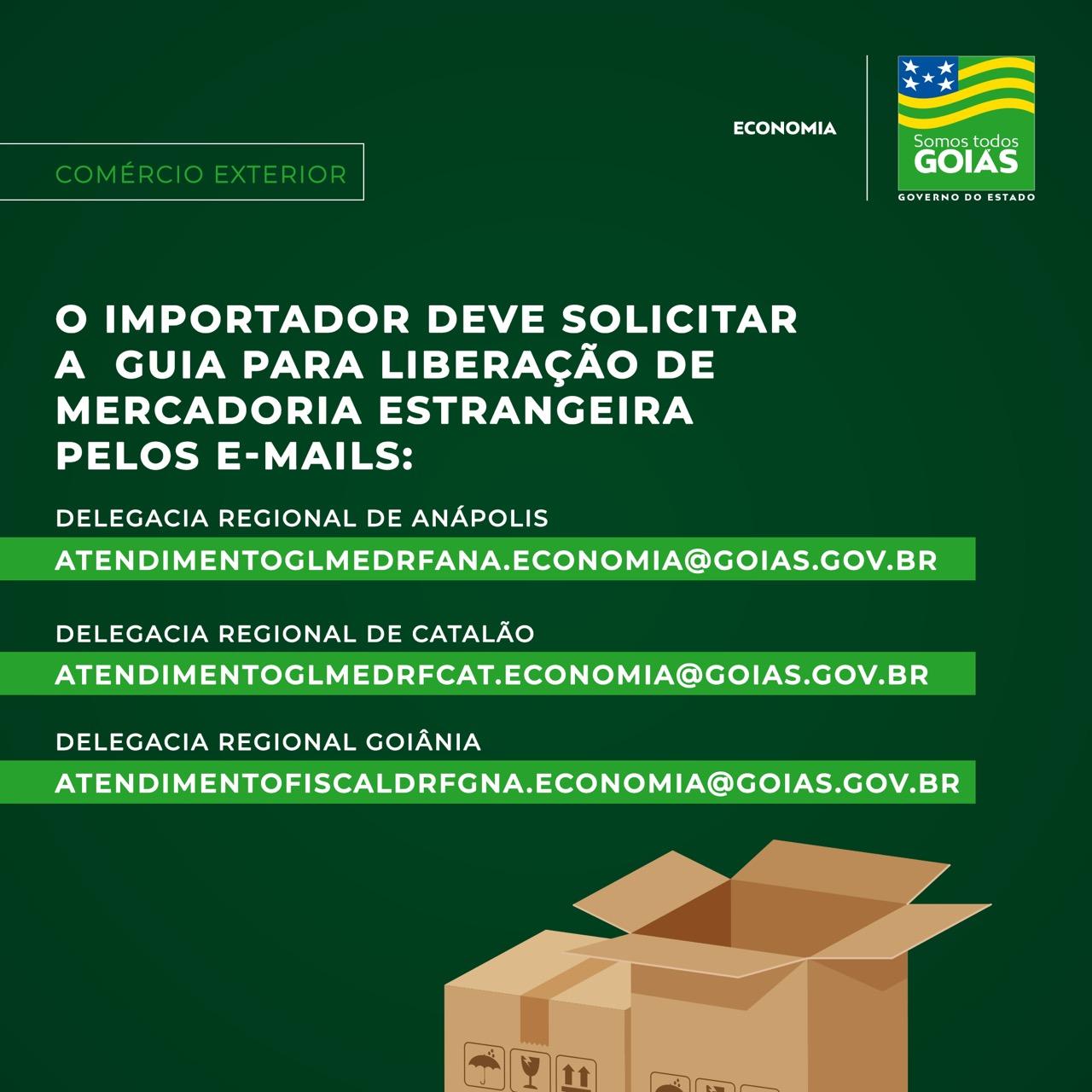 Guia de liberação para importação pode ser solicitada por e-mail