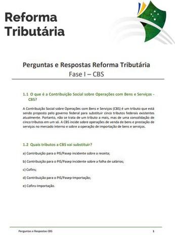 """Ministério lança """"Perguntas e Respostas"""" sobre os principais pontos da primeira etapa da Reforma Tributária"""