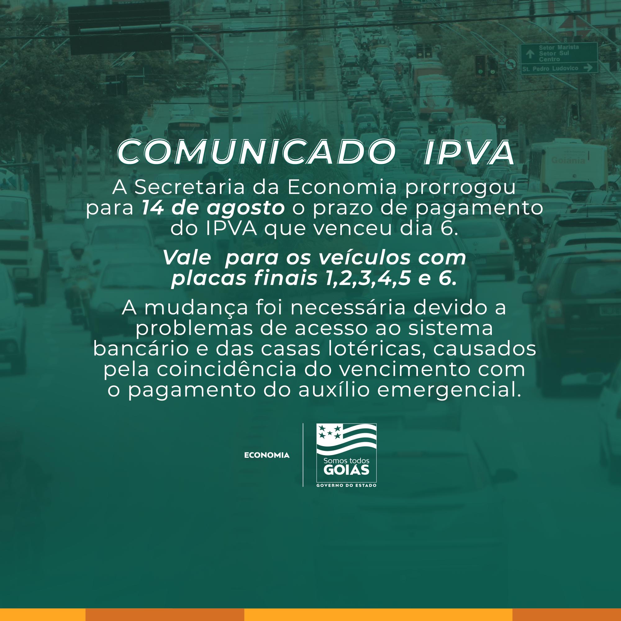 Governo de Goiás prorroga pagamento do IPVA para próxima semana