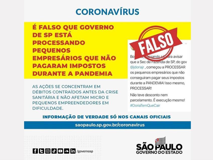 São Paulo informa que não está processando pequenos empresários que não conseguiram pagar impostos