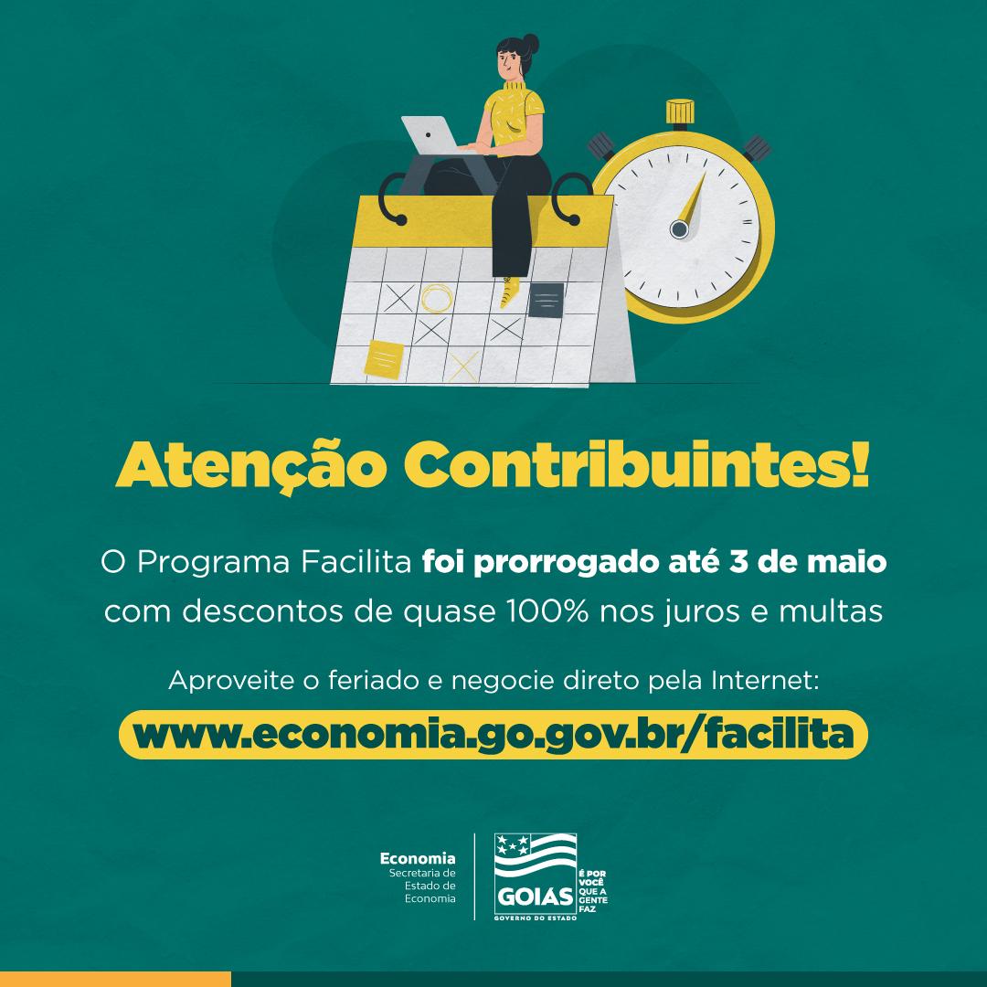 Contribuinte de Goiás pode negociar débitos no feriado prolongado pela Internet