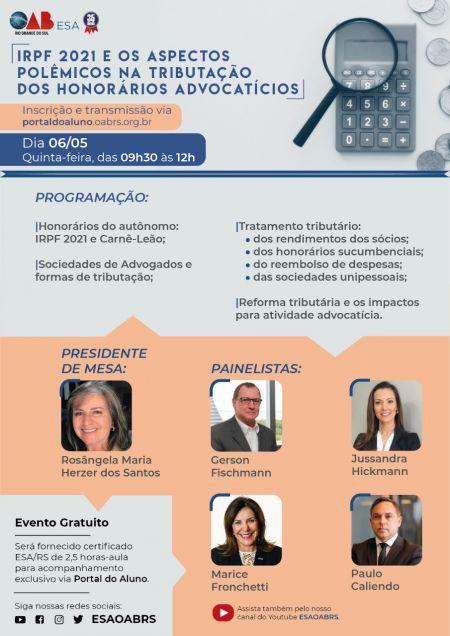 ESA/RS realizará evento para tratar de IRPF e os aspectos polêmicos dos honorários advocatícios