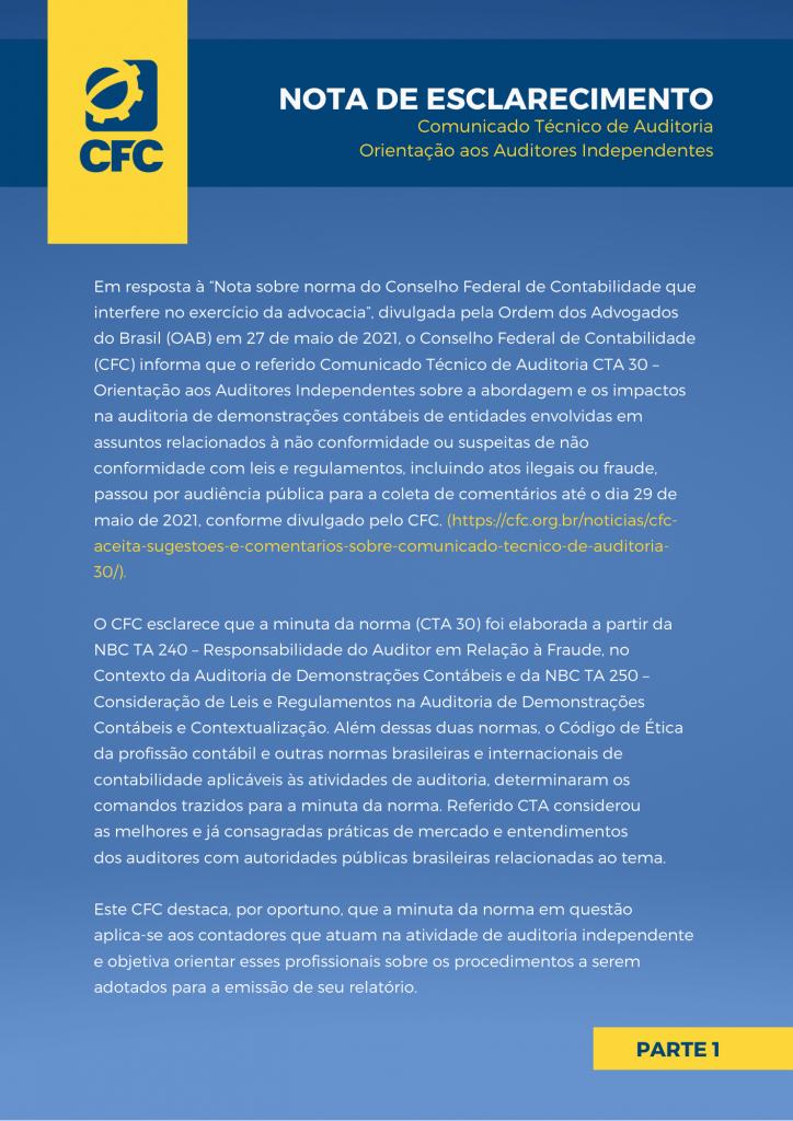 Nota de Esclarecimento: CTA 30 – Orientação aos auditores independentes