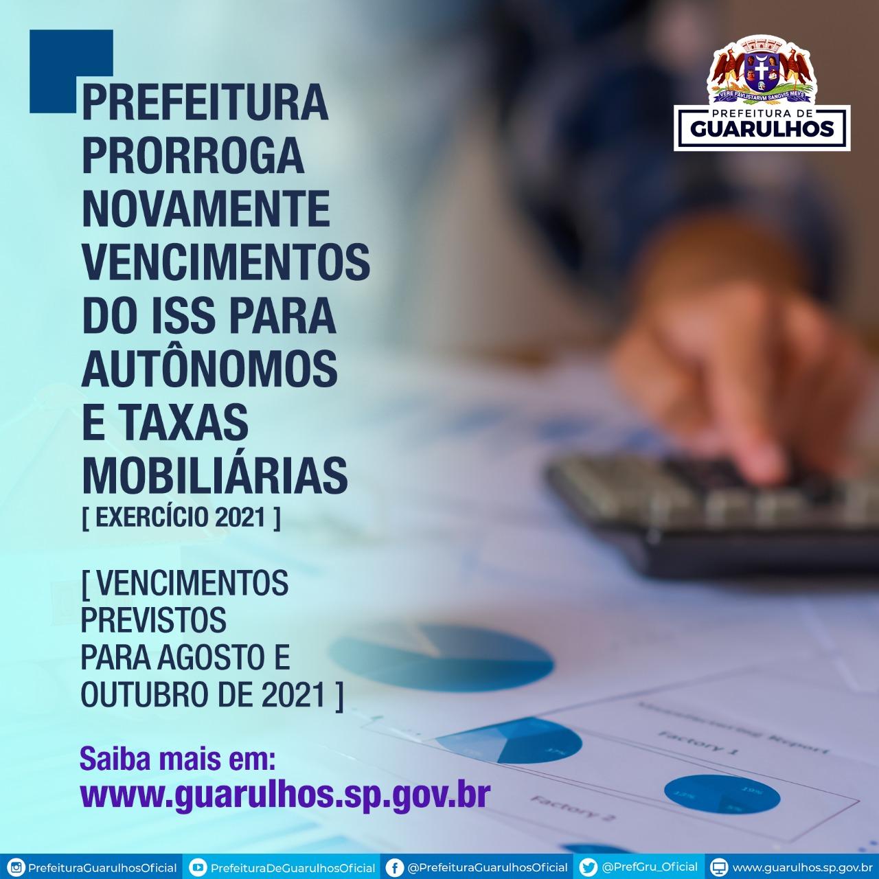 Prefeitura de Guarulhos prorroga vencimentos do ISS para autônomos e taxas mobiliárias